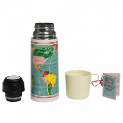 Thermosfles Vintage World + Beker - 350 ml